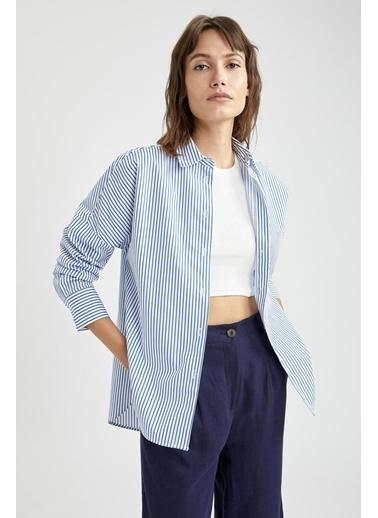DeFacto Basic Oversize Fit Poplin Gömlek Tunik Mavi